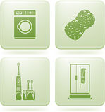 Cobalt Square 2D Icons Set: Bathroom Stock Photography