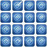 Cobalt Square 2D Icons Set: Computer File Types. Computer peripherals and all kind software file types icons set Stock Photography