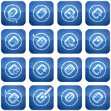 Cobalt Square 2D Icons Set: Computer Stuff Stock Photography