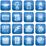 Cobalt Square 2D Icons Set: Kitchen utensils Stock Photos