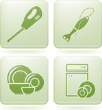 Cobalt Square 2D Icons Set: Kitchen utensils Stock Photo