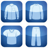 Cobalt Square 2D Icons Set: Man's Clothing Royalty Free Stock Images