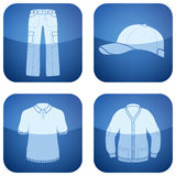 Cobalt Square 2D Icons Set: Man's Clothing Royalty Free Stock Photography