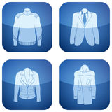 Cobalt Square 2D Icons Set: Man's Clothing Royalty Free Stock Photo