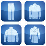 Cobalt Square 2D Icons Set: Man's Clothing Stock Photos