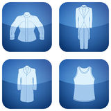 Cobalt Square 2D Icons Set: Man's Clothing Stock Photo