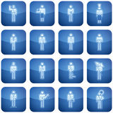 Cobalt Square 2D Icons Set: Occupation Stock Photo