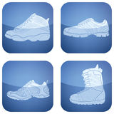 Cobalt Square 2D Icons Set: Sport Shoes Stock Photography