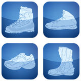 Cobalt Square 2D Icons Set: Sport Shoes Stock Image