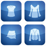 Cobalt Square 2D Icons Set: Woman's Clothing Stock Photo