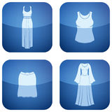 Cobalt Square 2D Icons Set: Woman's Clothing Stock Images