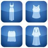 Cobalt Square 2D Icons Set: Woman's Clothing Stock Images