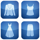 Cobalt Square 2D Icons Set: Woman's Clothing Stock Photos
