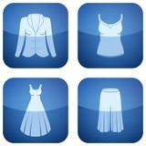 Cobalt Square 2D Icons Set: Woman's Clothing Stock Photos
