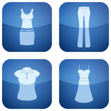 Cobalt Square 2D Icons Set: Woman's Clothing Royalty Free Stock Images