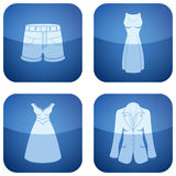 Cobalt Square 2D Icons Set: Woman's Clothing Stock Image