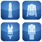Cobalt Square 2D Icons Set: Woman's Clothing Royalty Free Stock Photography