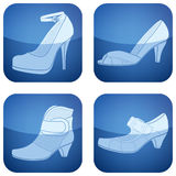 Cobalt Square 2D Icons Set: Woman's Shoes Stock Photography