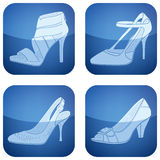 Cobalt Square 2D Icons Set: Woman's Shoes Stock Image