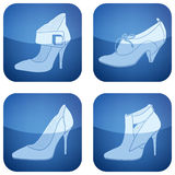 Cobalt Square 2D Icons Set: Woman's Shoes Royalty Free Stock Images