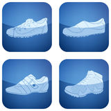 Cobalt Square 2D Icons Set: Woman's Shoes Royalty Free Stock Image