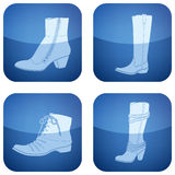 Cobalt Square 2D Icons Set: Woman's Shoes Royalty Free Stock Photos