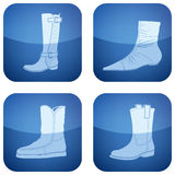 Cobalt Square 2D Icons Set: Woman's Shoes Stock Photos