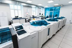 Cobas system. Clinical laboratory Stock Photos