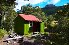 Cobb Hut. Cobb Valley, Kahurangi National Park, New Zealand stock image