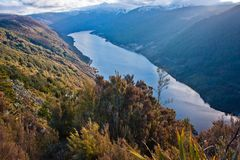 Cobb lake in Kahurangi NP, New Zealand. Famous turistic spot, Cobb lake in Kahurangi NP, New Zealand stock photography
