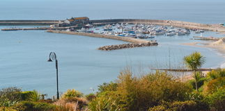Cobb in Lyme Regis. Taken from the hill royalty free stock image