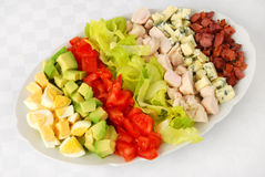 Cobb salad. Typical cobb salad on white background royalty free stock image