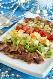 Cobb salad. Salad from tomatoes, bacon, sprouts, eggs and avocado Royalty Free Stock Photography
