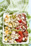 Cobb salad. Classic cobb salad with bacon, chicken, tomatoes, eggs, avocado and blue cheese royalty free stock photography