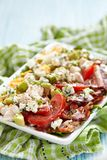 Cobb salad. Classic cobb salad with bacon, chicken, tomatoes, eggs, avocado and blue cheese royalty free stock photo