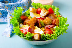 Cobb Salad. Cobb Salad with sauce. selective focus royalty free stock photos