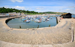 The Cobb. View from The Cobb in Lyme Regis, Dorset stock image