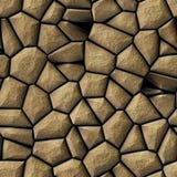 Cobble het patroon naadloze achtergrond van het stenen onregelmatige mozaïek - gekleurd bestratings beige natuurlijk Royalty-vrije Stock Fotografie