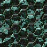 Cobble hexagon stone background. Cobble hexagon dark green stone background - illustrated seamless texture Royalty Free Stock Photography
