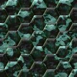 Cobble hexagon stone background. Cobble hexagon dark green stone background - illustrated seamless texture stock illustration