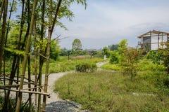 Cobble la trayectoria en hierba y malas hierbas al edificio rural de la vivienda en el sol fotografía de archivo