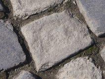 Cobble le pietre in calcestruzzo su un percorso, la macro di struttura del fondo, fuoco selettivo fotografie stock libere da diritti