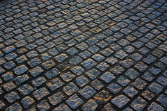 Cobble paving. Blocks running 45 digrees across frame Royalty Free Stock Photos