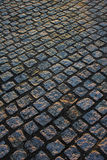 Cobble paving. Blocks running 45 digrees across frame Royalty Free Stock Images