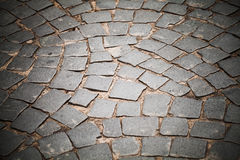 Cobble road, stone street pavement Royalty Free Stock Photo