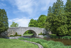Cobble stone bridge. At Webster falls park , ontario canada Stock Photo