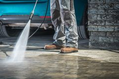 Stone Driveway Cleaning Stock Photography