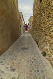 Cobble stone medieval street Stock Images