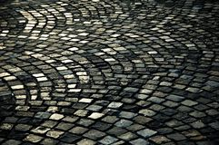 Cobble stone road. Background texture royalty free stock photos