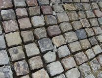 Cobble stone road in the making Stock Image